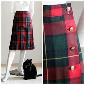 Vintage Red Green Plaid Wrap Pleated Skirt